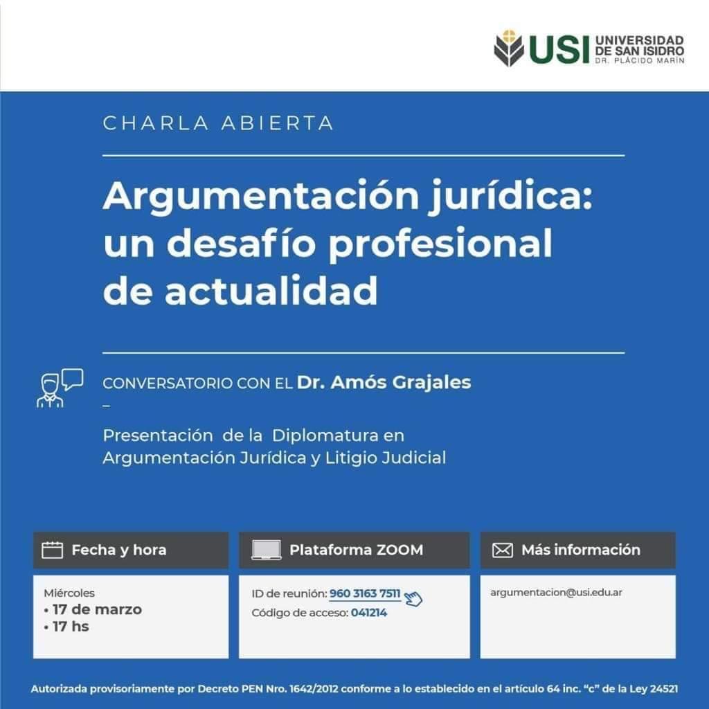Charla Abierta: Argumentación Jurídica: un desafío profesional de actualidad